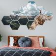 foto over meerdere hexagons op muur