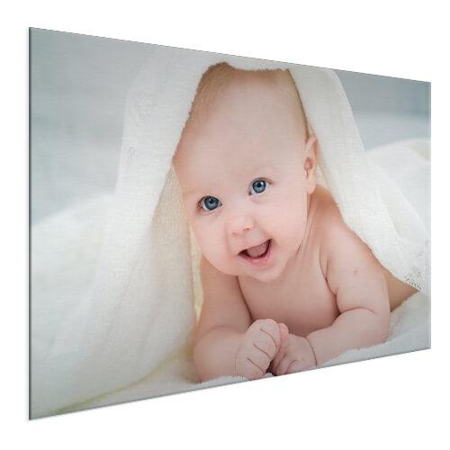 Babyfoto fotoshoot op aluminium