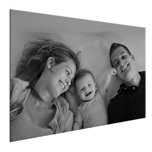 voorbeeld gezinsfoto zwart wit op aluminium